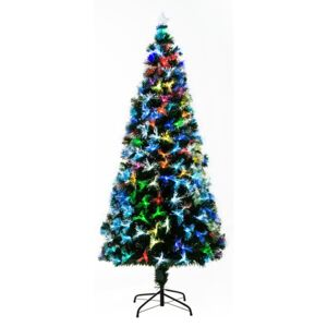 HOMCOM 6ft Tall Artificial Tree Fiber Optic Colorful LED Pre-Lit Holiday Home Christmas Decoration with Flash Mode - Green