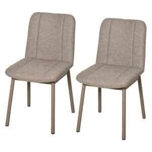 HOMCOM 2 Pieces Armless Mid Back Dining Chair Leisure Fabric Upholstered Padded Seat with Metal Legs for Living Room, Bedroom, Dorm-Khaki