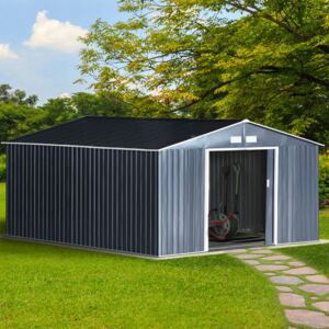 Outsunny 6.5 x 11FT Foundation Ventilation Steel Outdoor Garden Shed Grey