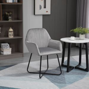 HOMCOM Modern Accent Chair Velvet-Touch Fabric Upholstered Lounge Armchair with Metal Base, Grey