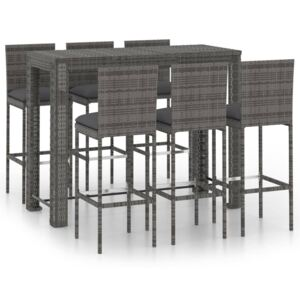 VidaXL 7 Piece Outdoor Bar Set with Anthracite Cushions Poly Rattan