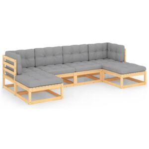6 Piece Garden Lounge Set with Cushions Solid Pinewood