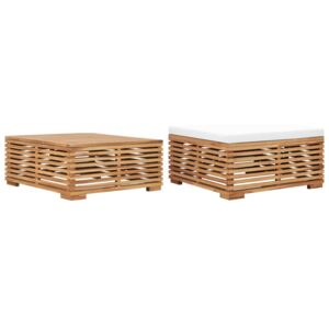 Garden Table and Footrest Set & Cream Cushion Solid Teak Wood