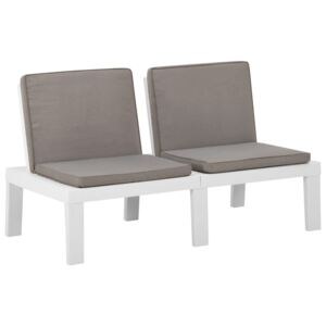Garden Lounge Bench with Cushion Plastic White