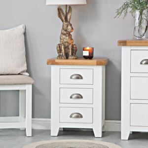 Hampshire White Painted Oak Large 3 Drawer Bedside Table