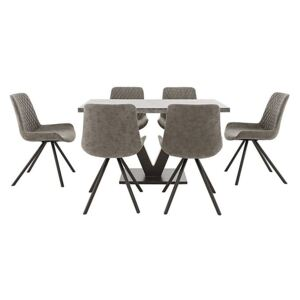 Rocket Dining Table and 6 Faux Leather Chairs Dining Set