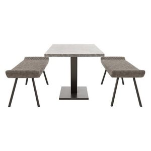 Rocket Dining Table with 2 Faux Leather Low Benches Dining Set