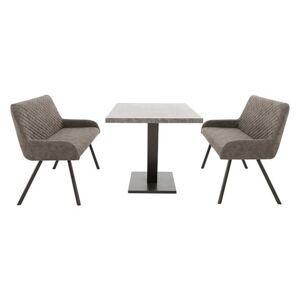 Rocket Dining Table with 2 Faux Leather High Back Benches Dining Set