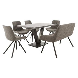 Rocket Dining Table, 4 Faux Leather Chairs and High Back Bench Dining Set