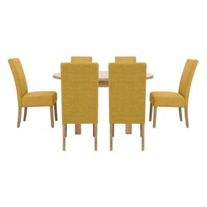Furnitureland - California Solid Oak Round Extending Table and 6 Fabric Chairs