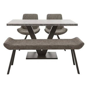Rocket Dining Table, 2 Faux Leather Chairs and Low Bench Dining Set
