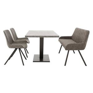 Rocket Dining Table, 2 Faux Leather Chairs and High Back Bench Dining Set