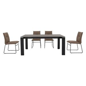 Calligaris - Gate Dining Table and 4 Maya Ski Leg Faux Leather Dining Chairs