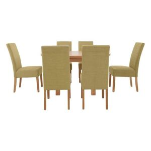 Furnitureland - California Solid Oak Rectangular Extending Table and 6 Fabric Chairs