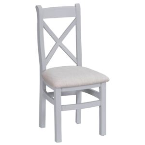 Suffolk Grey Painted Oak Crossback Chair With Fabric Seat