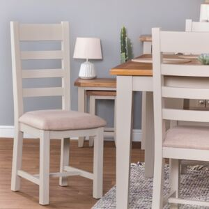 Chester Grey Painted Slat Back Dining Chair With Fabric Seat