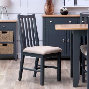 Gloucester Midnight Grey Painted Dining Chair Fabric Seat
