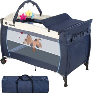 Tectake 400534 travel cot dog with changing mat and play bar - blue