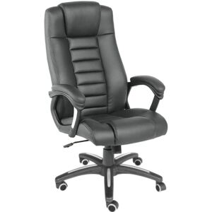 Tectake 400585 luxury office chair made of black artificial leather - black