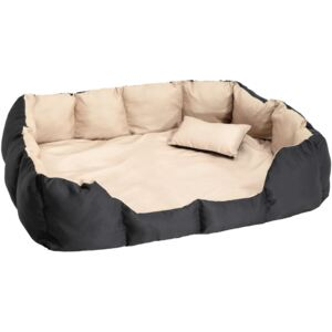 Tectake 400742 dog bed made of polyester - black/beige