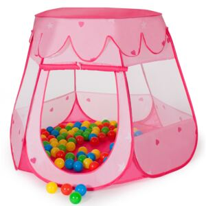 Tectake 400950 play tent with 100 balls for kids - pink