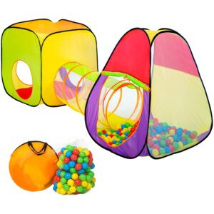 Tectake 401028 play tent with tunnel + 200 balls pop up tent - colorful