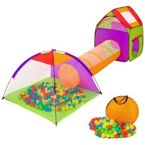 Tectake 401027 large play tent with tunnel + 200 balls for kids - colorful