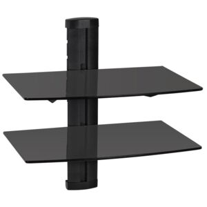 Tectake 401102 floating shelves with 2 tiers model 3 - black