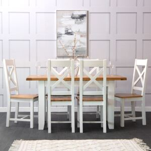 Hampshire White Painted Oak Small Extending Dining Table