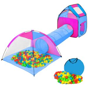 Tectake 401233 large play tent with tunnel + 200 balls for kids - blue