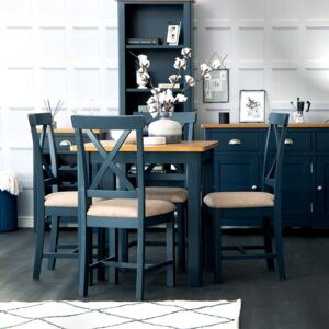 Rutland Blue Painted Oak Square Fixed Top Dining Table