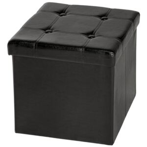 Tectake 401472 foldable ottoman made of synthetic leather with storage space - black