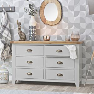 Hampshire Grey Painted Oak 6 Drawer Chest