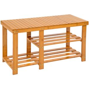 Tectake 401649 shoe rack bamboo with bench and separate compartment - brown