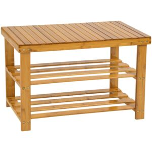 Tectake 401650 shoe rack bamboo with bench - brown