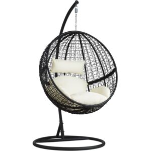 Tectake 401777 hanging chair with round frame rattan - black