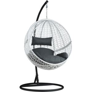 Tectake 401775 hanging chair with round frame rattan - white