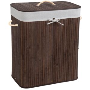 Tectake 401833 laundry basket with laundry bag - brown, 100 l