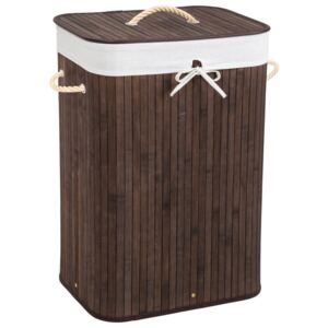 Tectake 401835 laundry basket with laundry bag - brown, 72 l