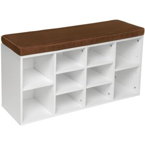 Tectake 402075 shoe rack with bench - brown/white