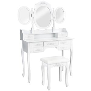 Tectake 402074 dressing table with 7 drawers, mirror and stool in an antique look - white