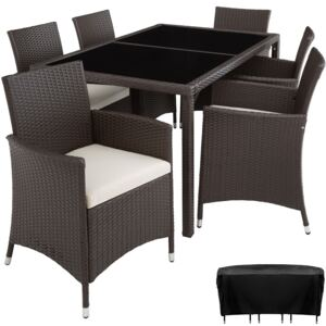 Tectake 402060 rattan garden furniture set lissabon 6+1 with protective cover - antique brown