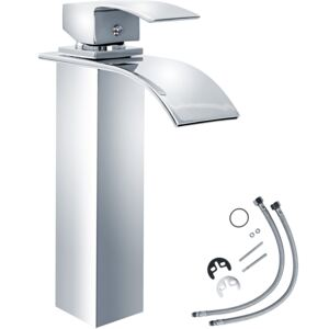 Tectake 402132 faucet waterfall curved high - grey
