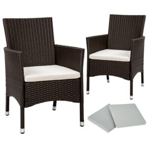 Tectake 402124 2 garden chairs rattan + 4 seat covers model 1 - antique brown