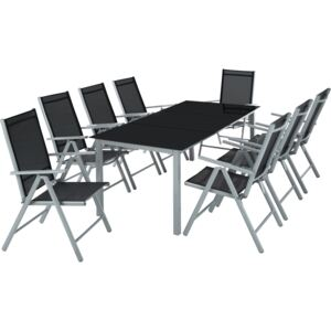 Tectake 402165 garden table and chairs furniture set 8+1 - light grey