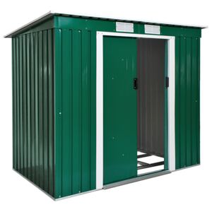 Tectake 402183 shed with slanted roof - green