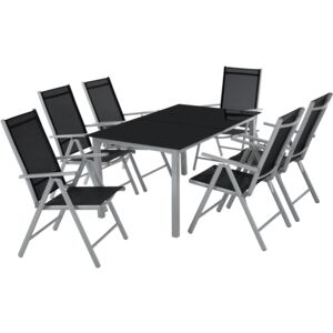 Tectake 402167 garden table and chairs furniture set 6+1 - light grey