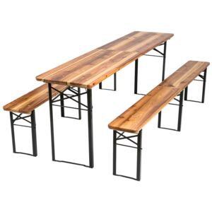 Tectake 402189 table and bench set, foldable 3-piece 219cm - brown