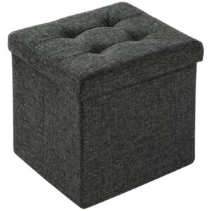 Tectake 402234 foldable ottoman made of polyester with storage space - dark grey