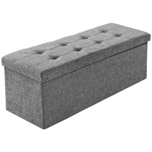 Tectake 402239 storage bench large, foldable, made of polyester - light grey